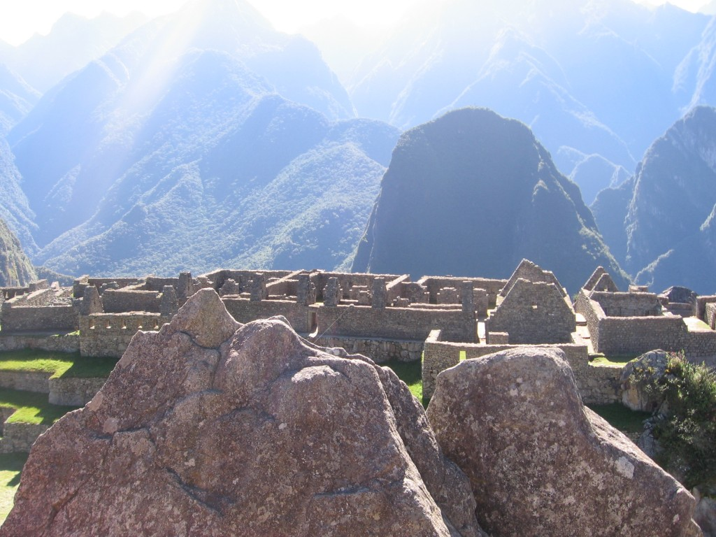 This stone in the foreground is actually a map of the mountains behind, those Incas....