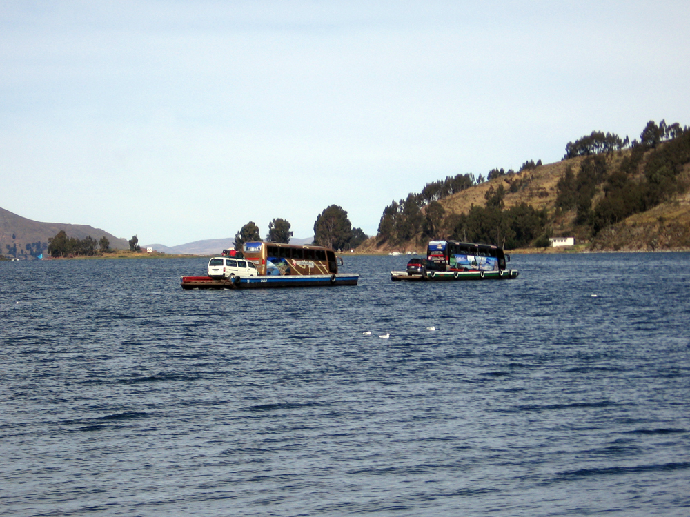 At one point during our bus trip we had to get off the bus and cross by a small boat while our bus was ferried across