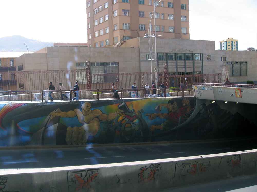 A mural on an underpass in downtown La Paz